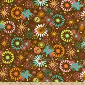 Tweet Town Floral Cotton Fabric - Brown