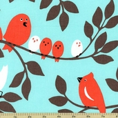 Tweetie Pie Cotton Fabric - Aqua CX5510