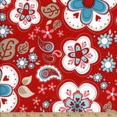 Twice As Nice Floral Cotton Fabric - Red