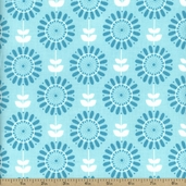 Twice As Nice Mod Floral Cotton Fabric - Blue