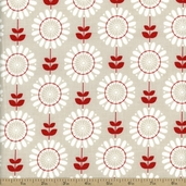 Twice As Nice Mod Floral Cotton Fabric - Gray