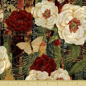 Twilight Blooms Cotton Fabric - Floral - Black Gold
