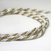 Twist Cording By the Spool - White/Gold - Clearance