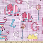 Two By Two Cotton Fabric - Alphabet Pink