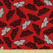 Two to Tango Cotton Fabric - Allover Butterflies - Red