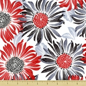 Two to Tango Cotton Fabric - Sunflowers - White