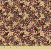 TX Cottons Cotton Fabric - Country Floral - Natural