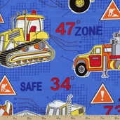Under Construction Dig It Cotton Fabric - Blue 05898-55