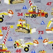 Under Construction Dig It Cotton Fabric - Grey 05898-11