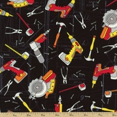 Under Construction Power Tools Cotton Fabric - Black 05893-12