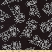 Under Construction Truck Depot Cotton Fabric - Black 05892-12