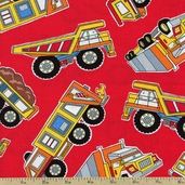 Under Construction Truck Stop Cotton Fabric - Red 05897-10