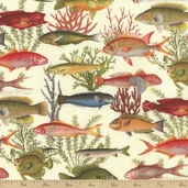Under The Sea Fish Fabric - Sand