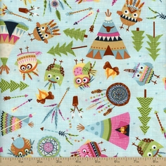 Under the Stars Owl Indians Cotton Fabric - Aqua