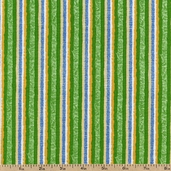 Untamed Melody Stripes Cotton Fabric - Green 1443-99009-745