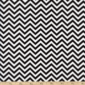 Ups & Downs Chevron Cotton Fabric - Black/White