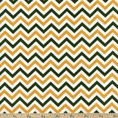 Ups & Downs Chevron Cotton Fabric - Gold/Green