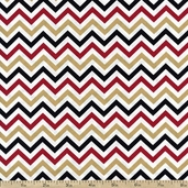 Ups & Downs Chevron Cotton Fabric - Gold/Red