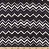 Ups & Downs Chevron Cotton Fabric - Grayscale