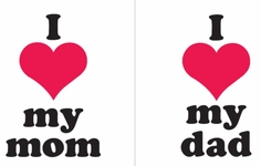 Uptown Baby Iron-On Color Transfer Design - I Love Mom / I Love Dad