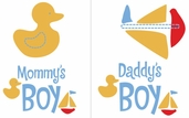 Uptown Baby Iron-On Color Transfer Design - Mommy's Boy / Daddy's Boy