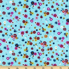 Urban Blooms Cotton Fabric - Blue Floral