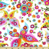 Urban Blooms Cotton Fabric - Butterfly Floral