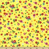 Urban Blooms Cotton Fabric - Yellow Floral