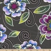 Urban Oasis Spiro Flower Cotton Fabric - Grey