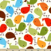 Urban Zoologie Bird Cotton Fabric - Bermuda