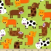 Urban Zoologie Cow Cotton Fabric - Green