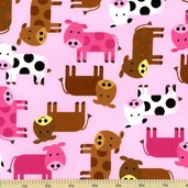 Urban Zoologie Cow Cotton Fabric - Pink
