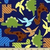Urban Zoologie Dinosaur Cotton Fabric - Navy