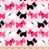Urban Zoologie Dog Cotton Fabric - Pink