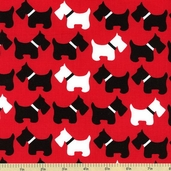 Urban Zoologie Dog Cotton Fabric - Red