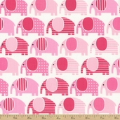 Urban Zoologie Elephant Cotton Fabric - Pink
