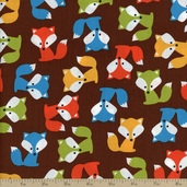 Urban Zoologie Fox Cotton Fabric - Brown