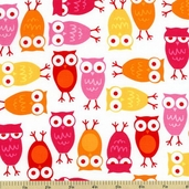 Urban Zoologie Owl Cotton Fabric - Pink