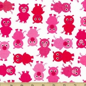 Urban Zoologie Pig Cotton Fabric - Pink