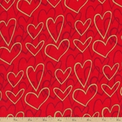 Valentine's Day Gold Hearts Cotton Fabric - Red