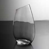 Vase with Slant Rim 10in - Clear Glass