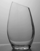 Vase with Slant Rim 12in - Clear Glass