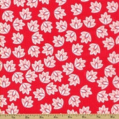 Verona Cotton Fabric - Leaves - Rouge