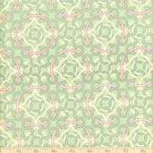 Victorian Modern Latticework Cotton Fabric - Green