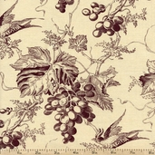Vin Du Jour Grapes Cotton Fabric - Beige