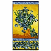 Vincent Van Gogh Floral Cotton Fabric Panel - Iris