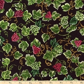 Vineyard Collection Grape Vines Cotton Fabric - Multi