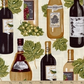 Vineyard Collection Cotton Fabric - Bottles - Ivory AMK-13567-15 IVORY