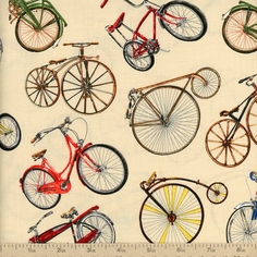 Vintage Bicycles Allover Bicycle Cotton Fabric - Cream