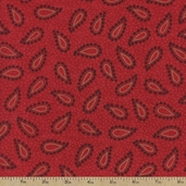 Vintage Farmhouse Paisley Cotton Fabric - Red